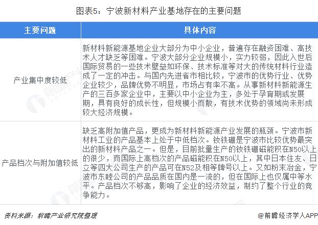 图表5:宁波新材料产业基地存在的主要问题