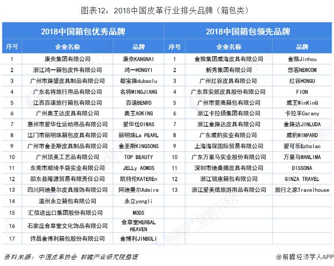 图表12:2018中国皮革行业排头品牌(箱包类)