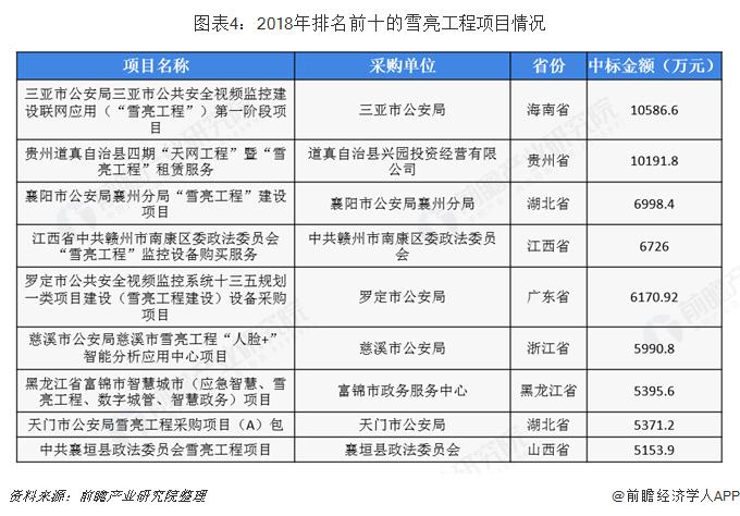 图表4:2018年排名前十的雪亮工程项目情况