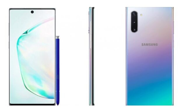 三星Galaxy Note 10正面渲染图曝光:银紫蓝渐变风,屏幕居中挖孔