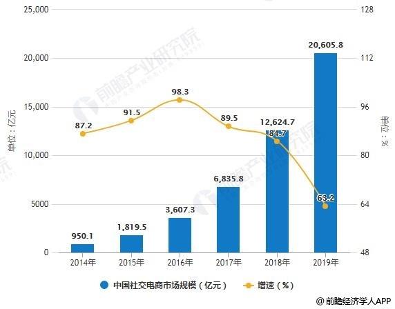 2014-2019年中国社交电商市场规模统计及增长情况预测