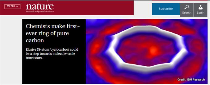 重大突破!科学家首次合成纯碳环形分子 登上自然杂志封面