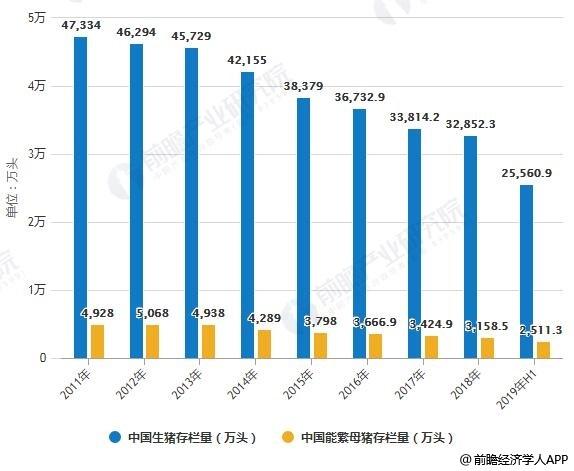 2011-2019年H1中国生猪及能繁母猪存栏量统计及增长情况