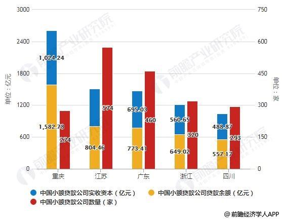 截止至2018年底中国小额贷款企业TOP5地区分布情况