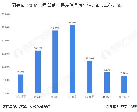 图表5:2019年6月微信小程序使用者年龄分布(单位:%)