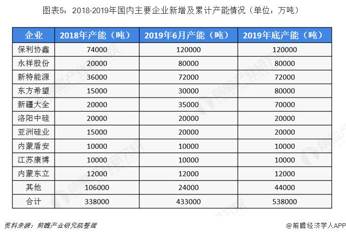 图表5:2018-2019年国内主要企业新增及累计产能情况(单位:万吨)