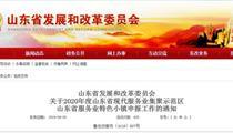 2020年度山东省服务业特色小镇申报政策
