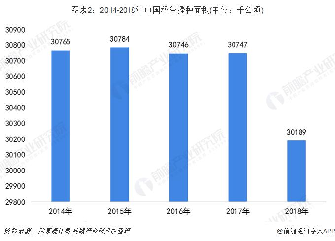 图表2:2014-2018年中国稻谷播种面积(单位:千公顷)