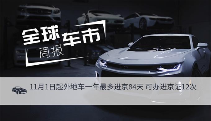 全球车市周报丨11月1日起外地车一年最多进京84天 可办进京证12次