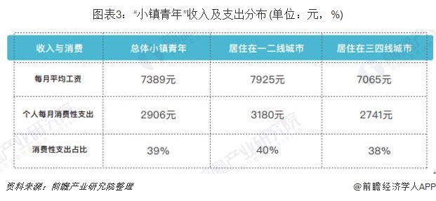 """图表3:""""小镇青年""""收入及支出分布(单位:元,%)"""