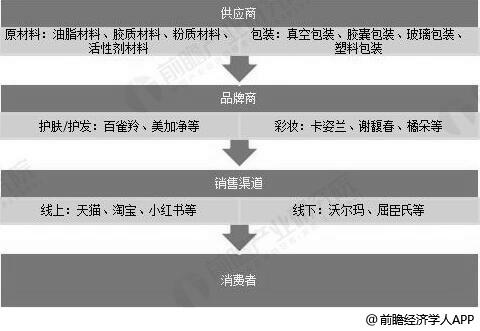 中国美妆行业产业链分析情况