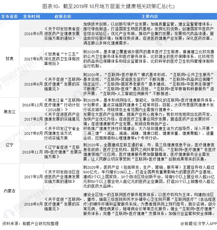 图表10:截至2019年10月地方层面大健康相关政策汇总(七)
