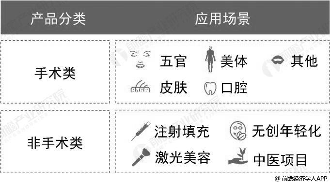 中国医疗美容产品分类情况