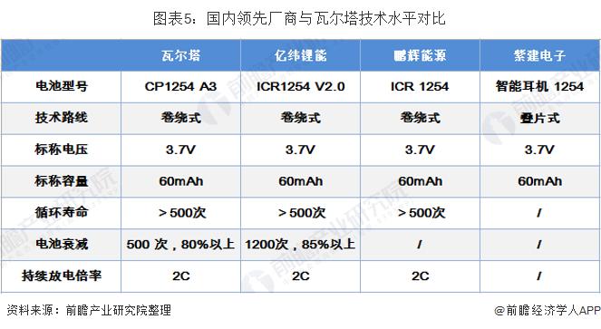 图表5:国内领先厂商与瓦尔塔技术水平对比