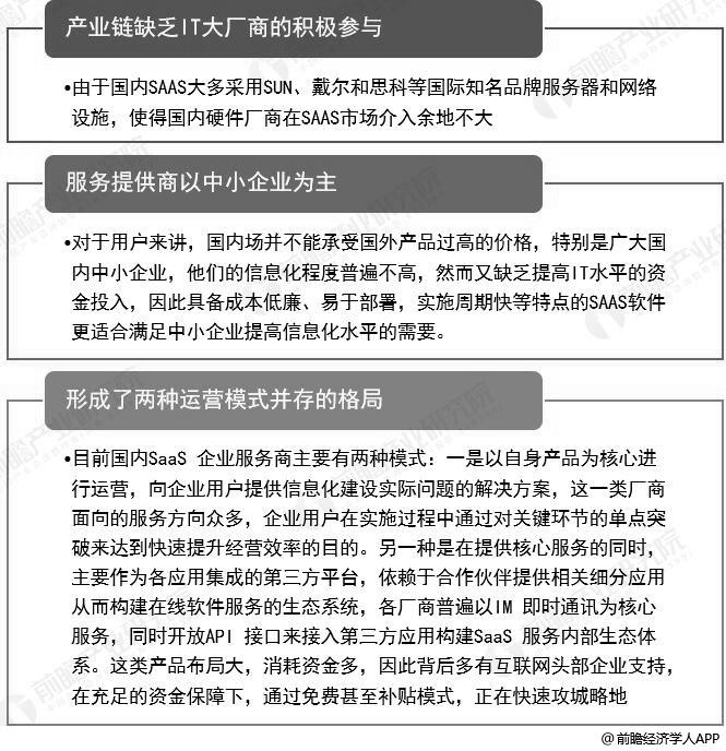 中国SAAS行业竞争特点分析情况