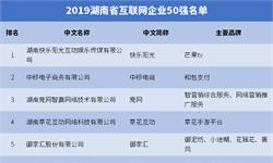 2019年<em>湖南省</em>互联网企业50强排名