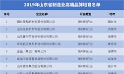 2019年山东省制造业高端品牌培育名单