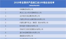 2019年全国农产品加工业100强企业名单