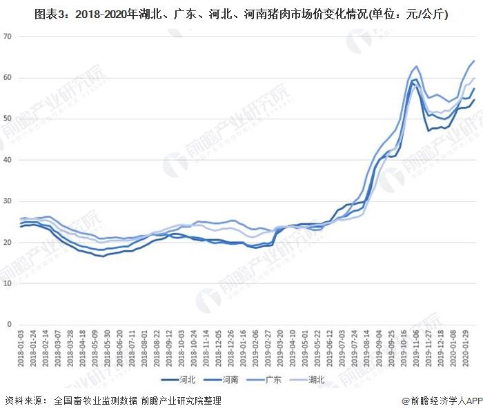 图表3:2018-2020年湖北、广东、河北、河南猪肉市场价变化情况(单位:元/公斤)
