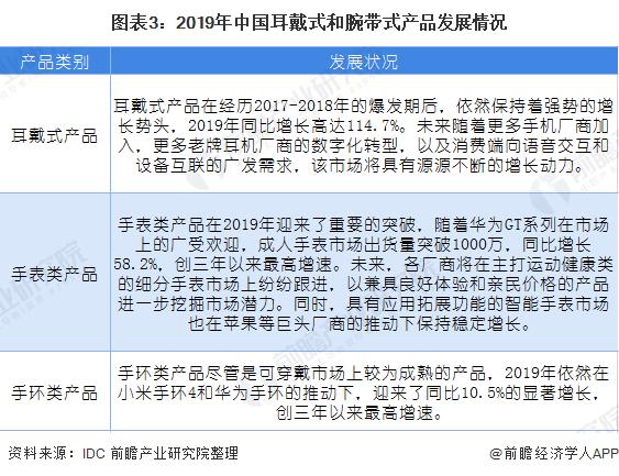 图表3:2019年中国耳戴式和腕带式产品发展情况