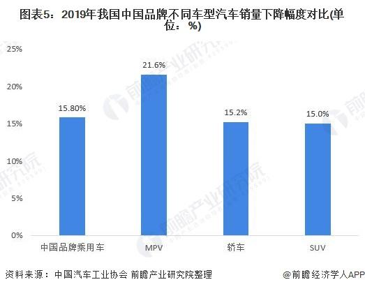 图表5:2019年我国中国品牌不同车型汽车销量下降幅度对比(单位:%)
