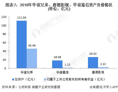 图表7:2019年华谊兄弟、唐德影视、华谊嘉信资产负债情况(单位:亿元)