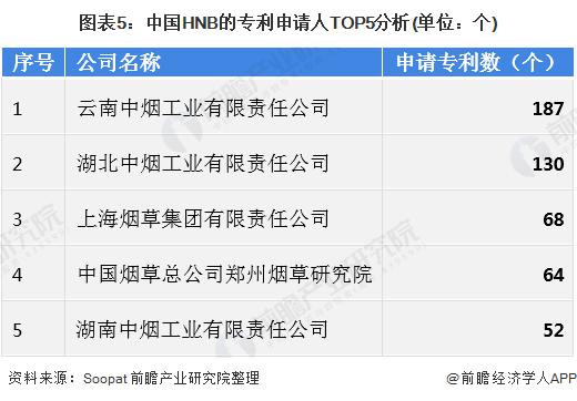 图表5:中国HNB的专利申请人TOP5分析(单位:个)