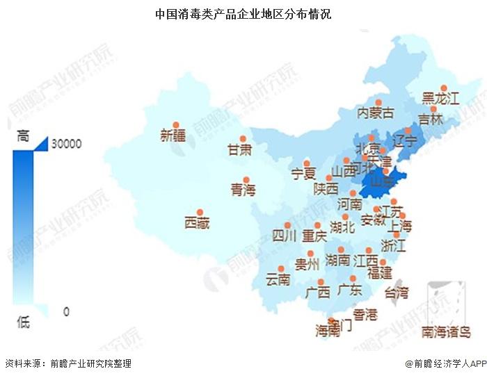 中国消毒类产品企业地区分布情况