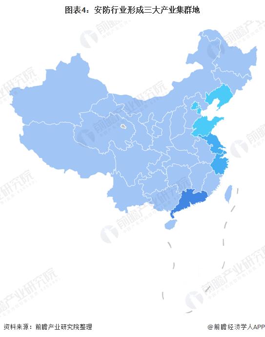 图表4:安防行业形成三大产业集群地