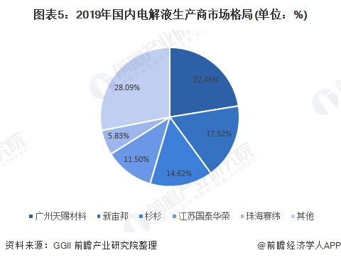 图表5:2019年国内电解液生产商市场格局(单位:%)