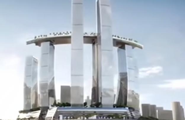 国内首座横向摩天楼明日开放:横跨4栋250米高楼顶部,内部打造成空中热带雨林