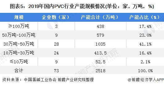 图表5:2019年国内PVC行业产能规模情况(单位:家,万吨,%)