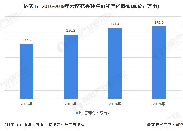图表1:2016-2019年云南花卉种植面积变化情况(单位:万亩)