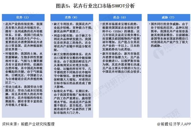 图表5:花卉行业出口市场SWOT分析