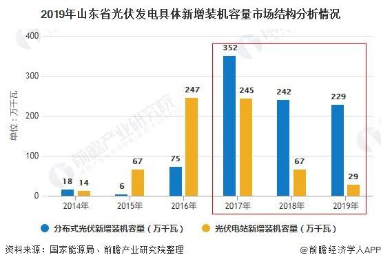 2019年山东省光伏发电具体新增装机容量市场结构分析情况