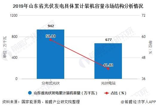 2019年山东省光伏发电具体累计装机容量市场结构分析情况