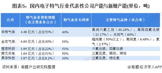 图表5:国内电子特气行业代表性公司产能与新增产能(单位:吨)