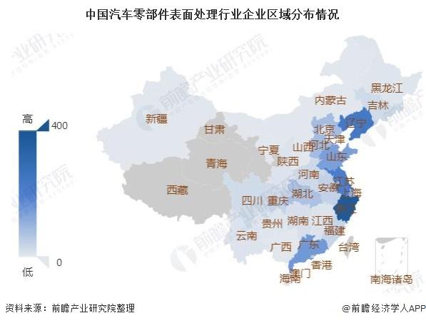 中国汽车零部件表面处理行业企业区域分布情况