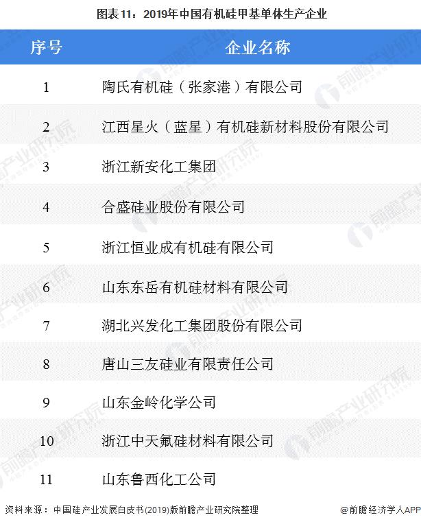 图表11:2019年中国有机硅甲基单体生产企业