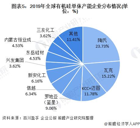 图表5:2019年全球有机硅单体产能企业分布情况(单位:%)
