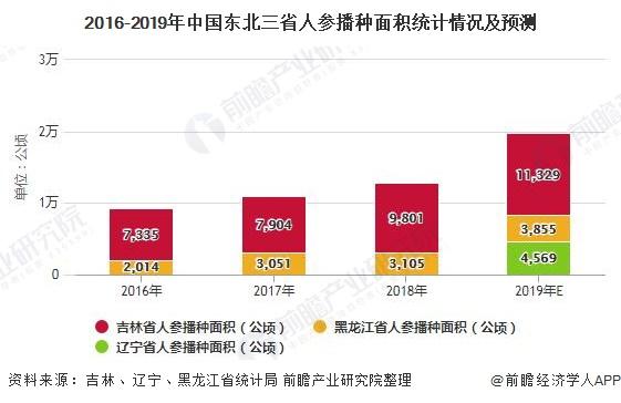 2016-2019年中国东北三省人参播种面积统计情况及预测
