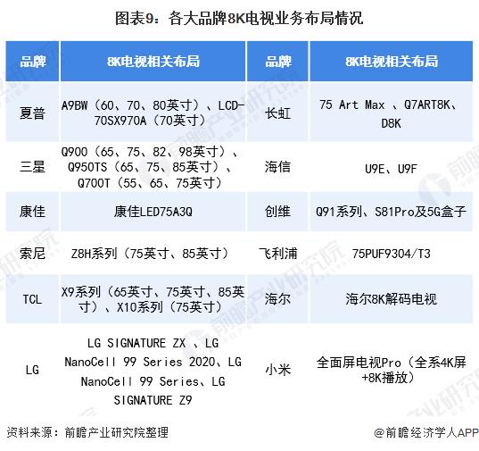 图表9:各大品牌8K电视业务布局情况