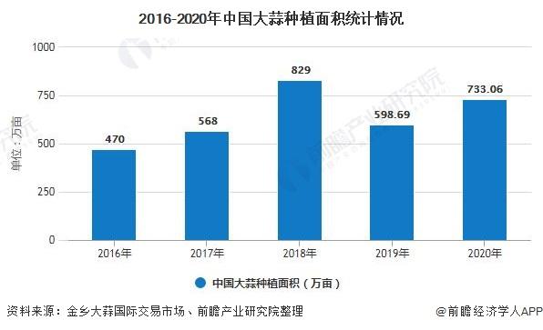 2016-2020年中国大蒜种植面积统计情况