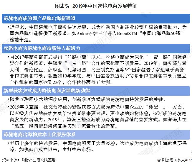 图表5:2019年中国跨境电商发展特征