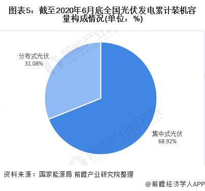 图表5:截至2020年6月底全国光伏发电累计装机容量构成情况(单位:%)