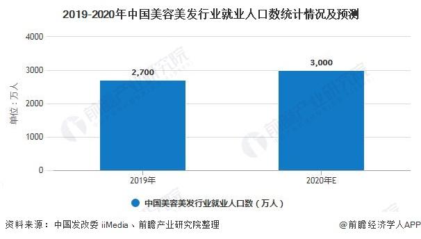 2019-2020年中国美容美发行业就业人口数统计情况及预测