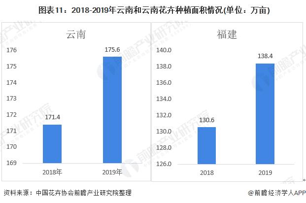 图表11:2018-2019年云南和云南花卉种植面积情况(单位:万亩)