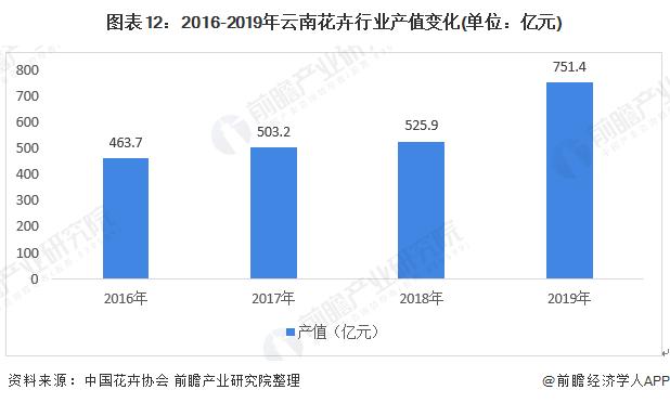 图表12:2016-2019年云南花卉行业产值变化(单位:亿元)
