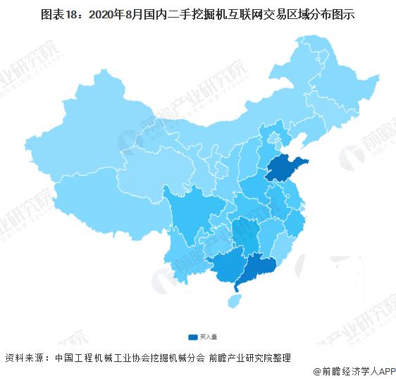 图表18:2020年8月国内二手挖掘机互联网交易区域分布图示