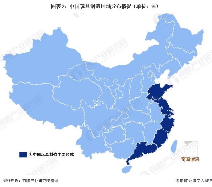 图表2:中国玩具制造区域分布情况(单位:%)